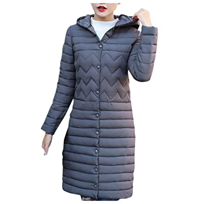 Sttech1 Women's Down Jacket, Single Breasted Puffer Coat Winter Warm Long Hooded Light Quilt Outwears: Clothing