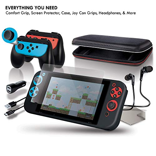 dreamGEAR Starter Kit Accessories: Compatible with Nintendo Switch, 11-In-1 Bundle, Carrying Case, Screen Protector, Ergonomic Grip Case, Earbuds with Mic, Joy Con Grips, Joystick Caps, More