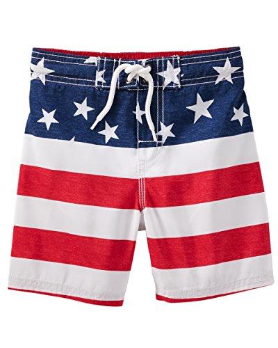 Osh Kosh Boys' Toddler Swim Trunks, American Flag, 2T