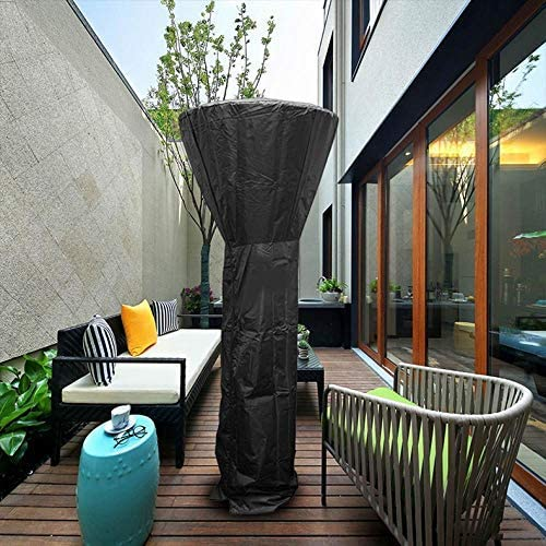 Garden Patio Heater Cover,Waterproof Round Protector With Zipper And Drawstring Fits Outdoor Heaters,210d Oxford Black 221x85x48CM