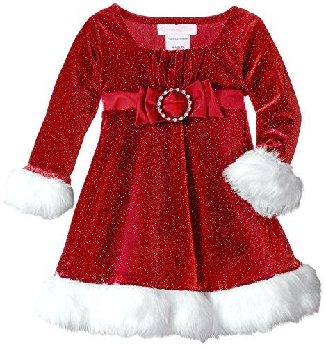 Bonnie Baby Baby Girls' Sparkle Stretch Velvet Santa Dress with Satin Bow, Red 18 -