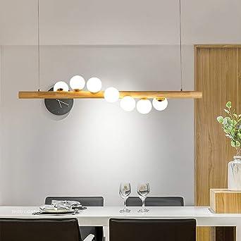 Madera Colgante de luz Candelabro para Mesa de comedor Bar Isla de cocina Lámparas de araña Moderno Creativo Blanco Vaso Pantalla Rústico Lámpara colgante 3000K blanco cálido G9 LED Incl. (L120CM): Amazon.es: