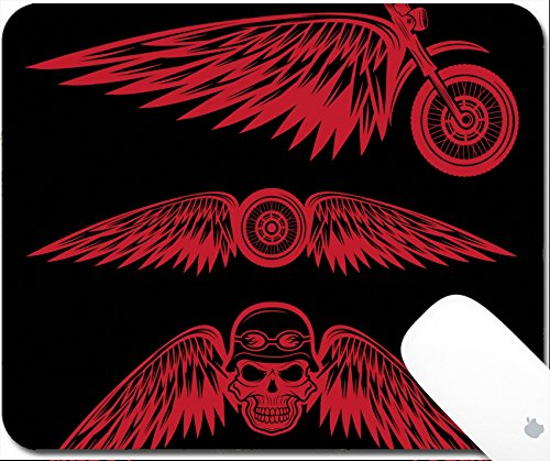 Luxlady Gaming Mousepad 9.25in X 7.25in IMAGE: 35316132 biker theme labels with wheel bike and skulls with wings ()