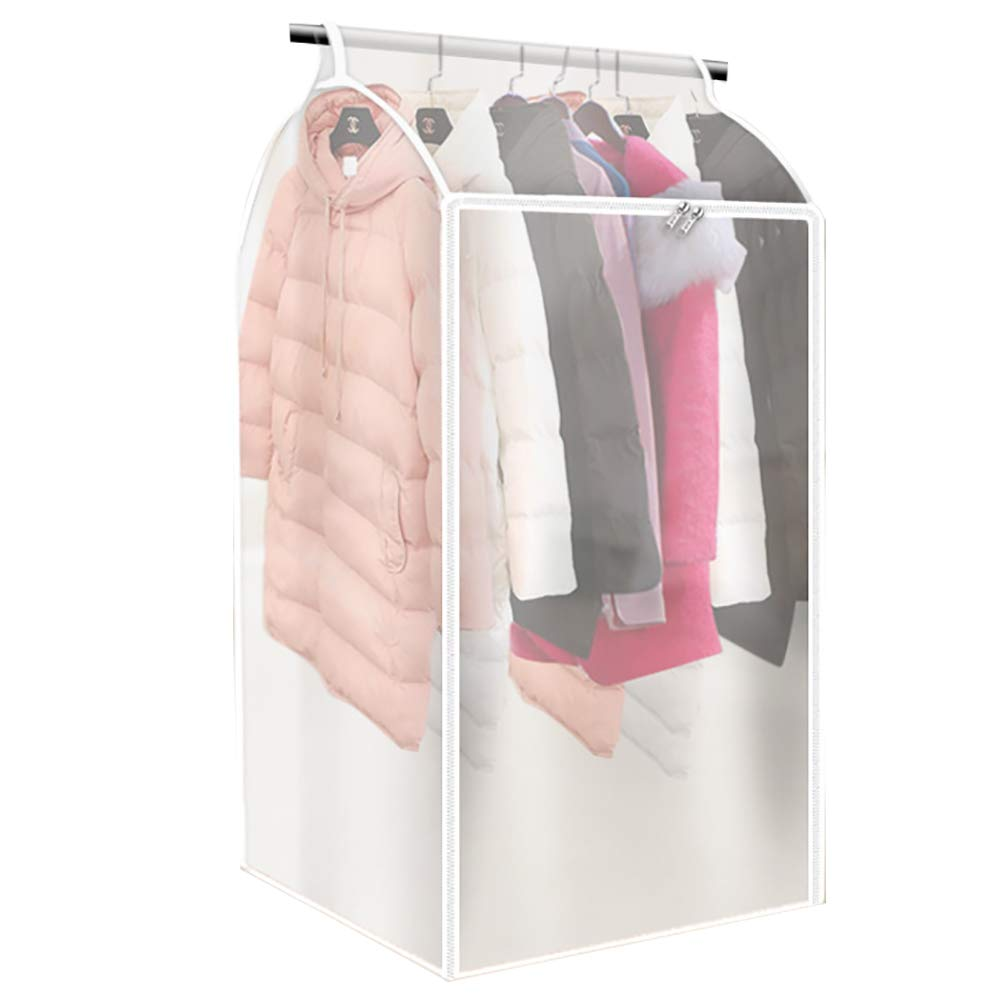 QEES Large Translucent Hanging Garment Bag Hanging Clothes Protector, Thicken PEVA Clothes Dustproof Protector, Wardrobe Hanging Storage Bag, Dust Protector Cover YFZ48 (37×20×21inch) ZhuoLang