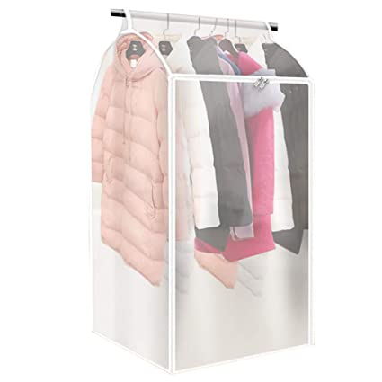420c77628202 QEES Large Garment Bags for Storage, Translucent Hanging Clothes Bag,  Thicken PEVA Clothes Waterproof Protector, Hanging Wardrobe Garment Storage  Bag, ...