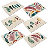 Monoshop 6 in Set Cotton Linen Placemats - Feather Pattern Table Mats Heat-Resistant Non-Slip Insulation Table Runner for Kitchen Dining Room Table Decoration