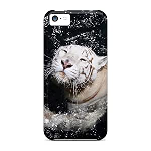Awesome Qqd28379pEix JosieGrilli Defender Hard Cases Covers For Iphone 5c- White Tiger Swimming
