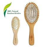 NIPOO Natural Wooden Paddle Hair Brush + Free Mini Travel Brush -...