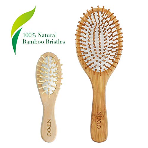 Toddler Health Balanced - NIPOO Natural Wooden Paddle Hair Brush + Free Mini Travel Brush - Eco-Friendly Bamboo Bristle Detangling Hairbrush for Women Men and Kids - Reduce Frizz and Massage Scalp (9 inch)