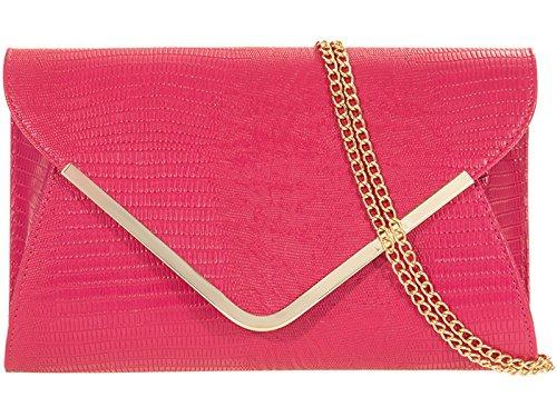 fi9? Croc Print Envelop Bridal Wedding Evening Handbag Party Purse Clutch Shoulder Hand Bag Pink