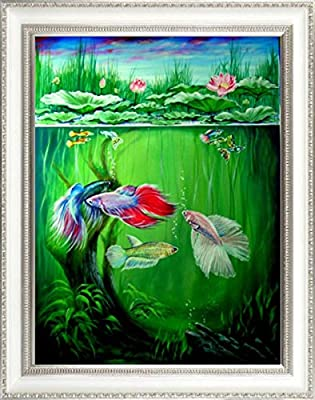 "Original Acrylic Painting "" Siamese Bettas Fighting Fish "" Very Rare Collection."