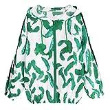 Spbamboo Womens Long Sleeve Thin Hooded Zip Leaves Print Sport Coat Sweatshirt