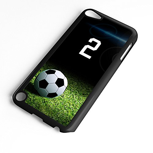 iPod Touch Case Fits 6th Generation or 5th Generation Soccer Ball #6500 Choose Any Player Jersey Number 2 in Black Plastic Customizable by TYD Designs