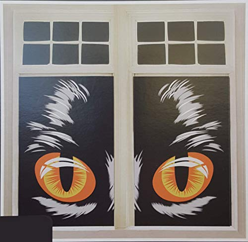 Halloween Window Silhouettes Cat Eyes (Set of 2 Window/Mirror Film Posters Halloween Decoration 30 x 48 Inch (Black Cat)