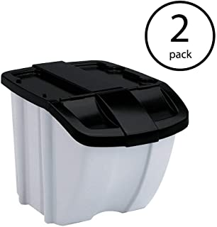 product image for Suncast 18 Gallon Indoor or Outdoor Stacking Recycle Storage Bin, Gray (2 Pack)