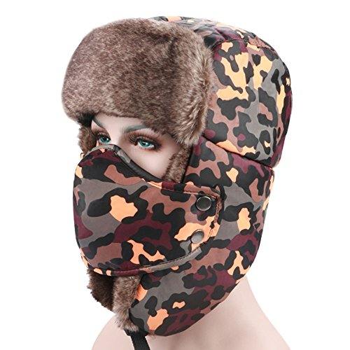 PADEK Winter Windproof Warm Camouflage Mask Ear Flaps Trapper Trooper Hat Outdoor Sports Walking Skiing Hunting Hat