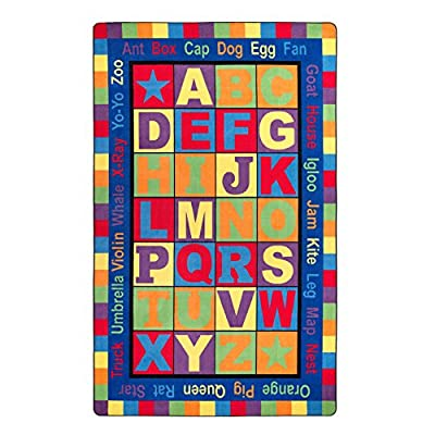Flagship Carpets Words, Features the Alphabet Surrounded by a Border of Words, Children's Classroom Educational Carpet