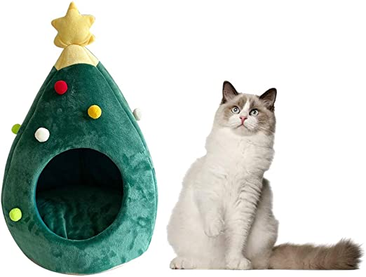 HE ZE Arena para Gatos con Forma de árbol de Navidad, Creativa ...