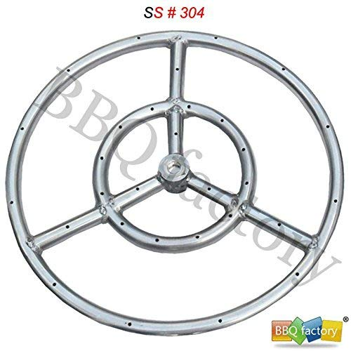 bbq factory Stainless Steel Fire Pit Burner Ring, 24-Inch dia, SS #304