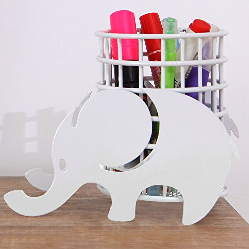 MyGift Cylindrical Metal Elephant Design Pen Cup, Office Supplies Pencil Holder, White by MyGift