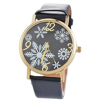 Souarts Artificial Leather Christmas Snowflake Pattern Bracelet Round Dial Quartz Wrist Watch Black