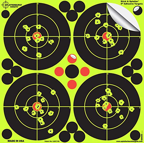 Splatterburst Targets - 6 inch Adhesive Stick & Splatter Reactive Shooting Targets - Gun - Rifle - Pistol - Airsoft - BB Gun - Pellet Gun - Air Rifle (25 Pack)
