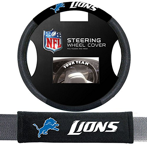 Fremont Die Detroit Lions NFL Steering Wheel Cover and Seatbelt Pad Auto Deluxe Kit by Fremont Die