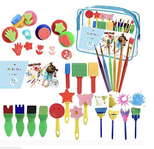 Kids Art & Craft 27 Pieces of Fun Painting Drawing Tools for Kids. Early Learning Kids Painting Set, Sponge Brush, Flower Pattern Brush, Brush Set Revanak