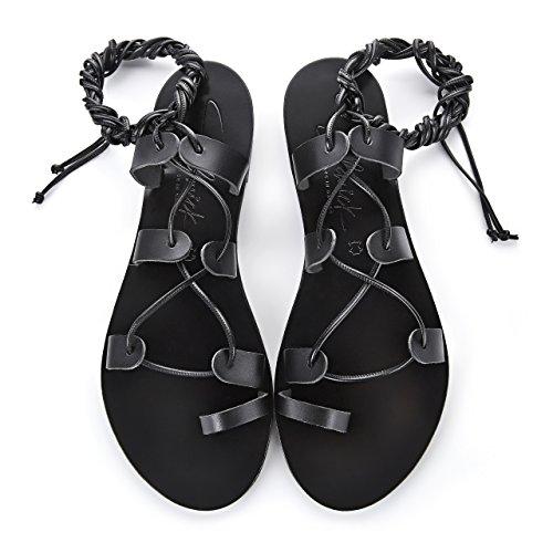 SCHMICK SHOES Sandales Helena : Chaussures d'été spartiates pour femme plates en cuir bohèmes chics faites à la main Noir / Noir t0ukryzwH