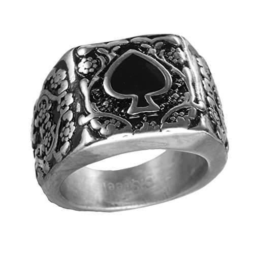 PAURO Men's Stainless Steel Vintage Simple Design Spades Punk Ring Size 9 ()