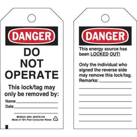 BRADY 65441 Danger Tag 5-3/4 x 3 In Cardstock PK25 WLM