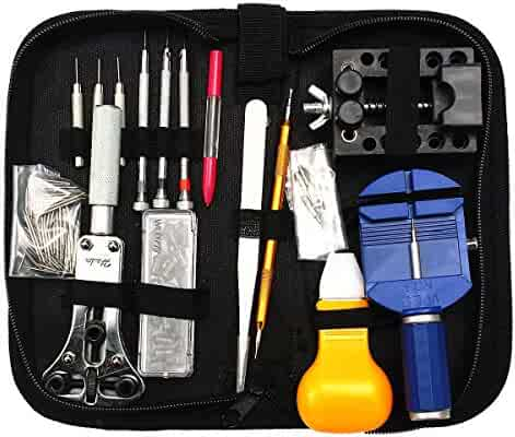 Baban 144 Pcs Watch Repair Kit,Watch Tools Kit Spring Bar Tool Watch Band Link Pin Remover Tool Set with Zipper Case
