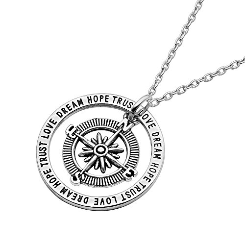 Necklace For Best Friend Trust Love Dream Hope Compass Pendant Necklace Charm Gift For Teens