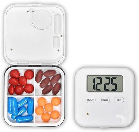 Caja de pastillas electrónica Caja de píldoras con temporizador de píldoras de 7 días Fácil de transportar con 4 compartimientos 5 alarmas múltiples separadas, temporizador, cuenta regresiva y pantall: Amazon.es: Hogar