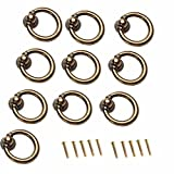 FirstDecor 10pcs Antique Brass Ring Pull Handle for Kitchen Cabinets,Cupboards,Wardrobe,Drawer, Furniture Hardware,Retro Style Cabinet Ring Pull Handles Knobs