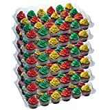 OccasionWise (6 Pack) Cupcake Carrier Holds 24 Standard Cupcakes - Extra Sturdy Clear Plastic Boxes | Disposable & Reusable Containers | Tall Dome Detachable Lid | Storage Tray & Easy To Transport