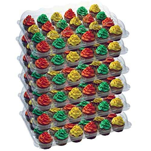 OccasionWise (6 Pack) Cupcake Boxes Carrier Holds 24 Standard Cupcakes - Extra Sturdy Clear Plastic Boxes | Disposable & Reusable Containers | Tall Dome Detachable Lid