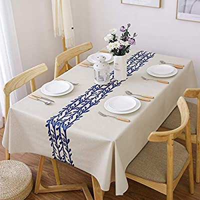 LEEVAN Heavy Weight Vinyl Rectangle Table Cover Wipe Clean PVC Tablecloth Oil-Proof/Waterproof Stain-Resistant-54 x 78 Inch(Rattan) - Material: 100% PVC, grade A vinyl heavy weight tablecloth, Variety stylish pattern of same PVC tablecloth available in LeeVan Store Spills, oil and liquids bead up and won't leak through the tablecloth so your tablecloth looks fresher longer Smooth surface and durable for any table setting whether casual or formal - tablecloths, kitchen-dining-room-table-linens, kitchen-dining-room - 51Te Hyq0hL. SS400  -