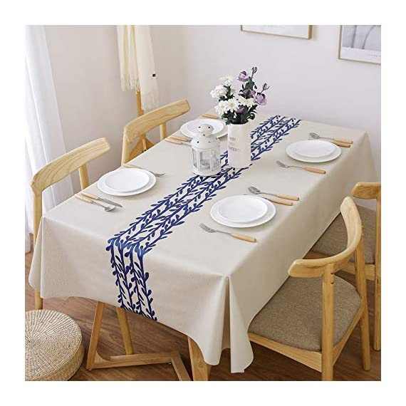 LEEVAN Heavy Weight Vinyl Rectangle Table Cover Wipe Clean PVC Tablecloth Oil-Proof/Waterproof Stain-Resistant-54 x 78 Inch(Rattan) - Material: 100% PVC, grade A vinyl heavy weight tablecloth, Variety stylish pattern of same PVC tablecloth available in LeeVan Store Spills, oil and liquids bead up and won't leak through the tablecloth so your tablecloth looks fresher longer Smooth surface and durable for any table setting whether casual or formal - tablecloths, kitchen-dining-room-table-linens, kitchen-dining-room - 51Te Hyq0hL. SS570  -