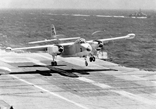 from Heavy Attack Squadron VAH-6 Det.I Fleurs landing aboard the U.S. Navy aircraft carrier USS