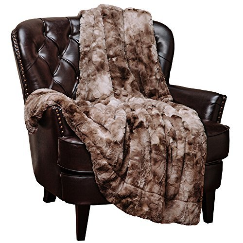 Chanasya Fuzzy Faux Fur Throw Blanket - Light Weight Blanket for Bed Couch and Living Room Suitable for Fall Winter and Spring (50x65 Inches) Beige (Leopard Plush Blanket)