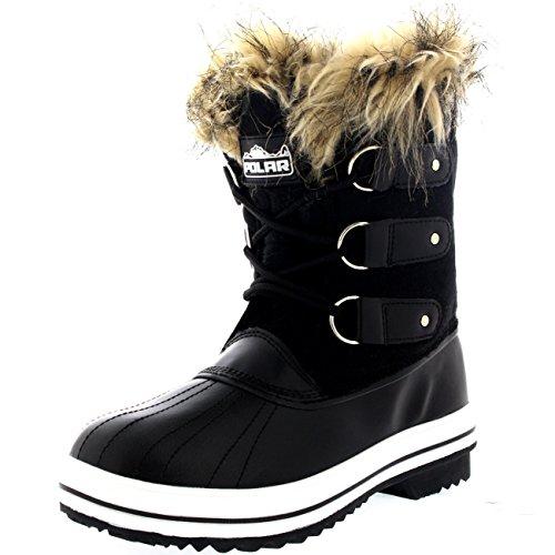 Polar Products Womens schnüren sich Gummisohle Short Winter Schnee Regen Schuh Stiefel Schwarzes Textil