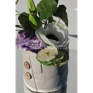 Artificial Green Tulip & Anemone Ceramic Button Vase Display 2