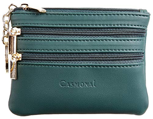 Casmonal Womens Genuine Leather Coin Change Purse Pouch Slim Minimalist Front Pocket Wallet Key Ring (Green Coal)