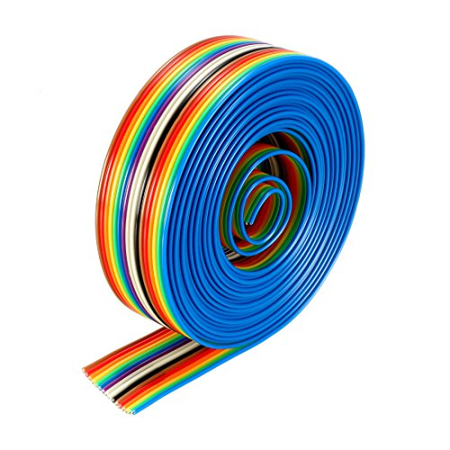 uxcell Flat Ribbon Cable 16P Rainbow IDC Wire 1.27mm Pitch 3 Meters Long