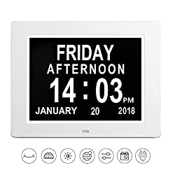 [Newest Version] Digital Calender Day Clock,LED Wall Clock Calendar Alarm Clock 8 Extra Large Impaired Display Clock Memory Loss Elderly Seniors