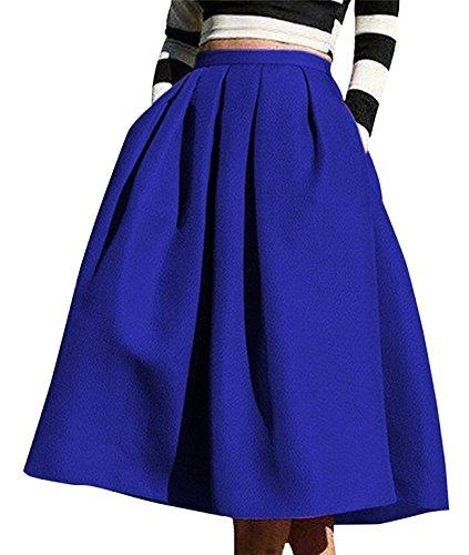 Longue Jupe Chic Aswinfon Taille Vintage Mi Bleu Patineuse Femme Plisse Midi S Rtro Haute Jupe 00Rwq8x1