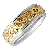 14K Two Tone Gold Floral Paisley Women's Comfort Fit Wedding Band (7mm)