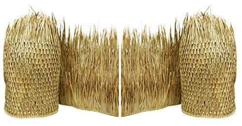 Tiki Bar Thatch, Thatch Roof for Tiki Bar, Tiki Roof Thatching - 2.5-ft. Hand-woven thatch strips and Crafted from Eco-friendly Renewable Palm Tree, Set of 2
