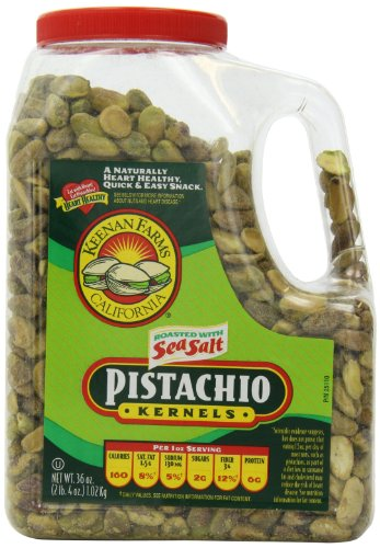 Keenan Farms Shelled Kernel Roasted Pistachio with Sea Salt, 36-Ounce Jug ()